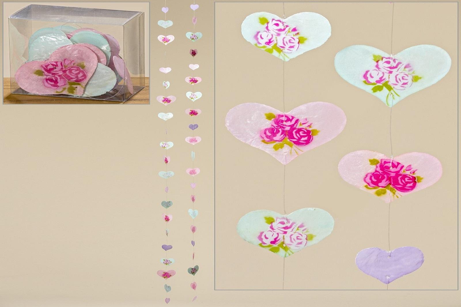 Capiz Muschel Girlande Mobile Windspiel herzförmig mit Blüten 2er Set