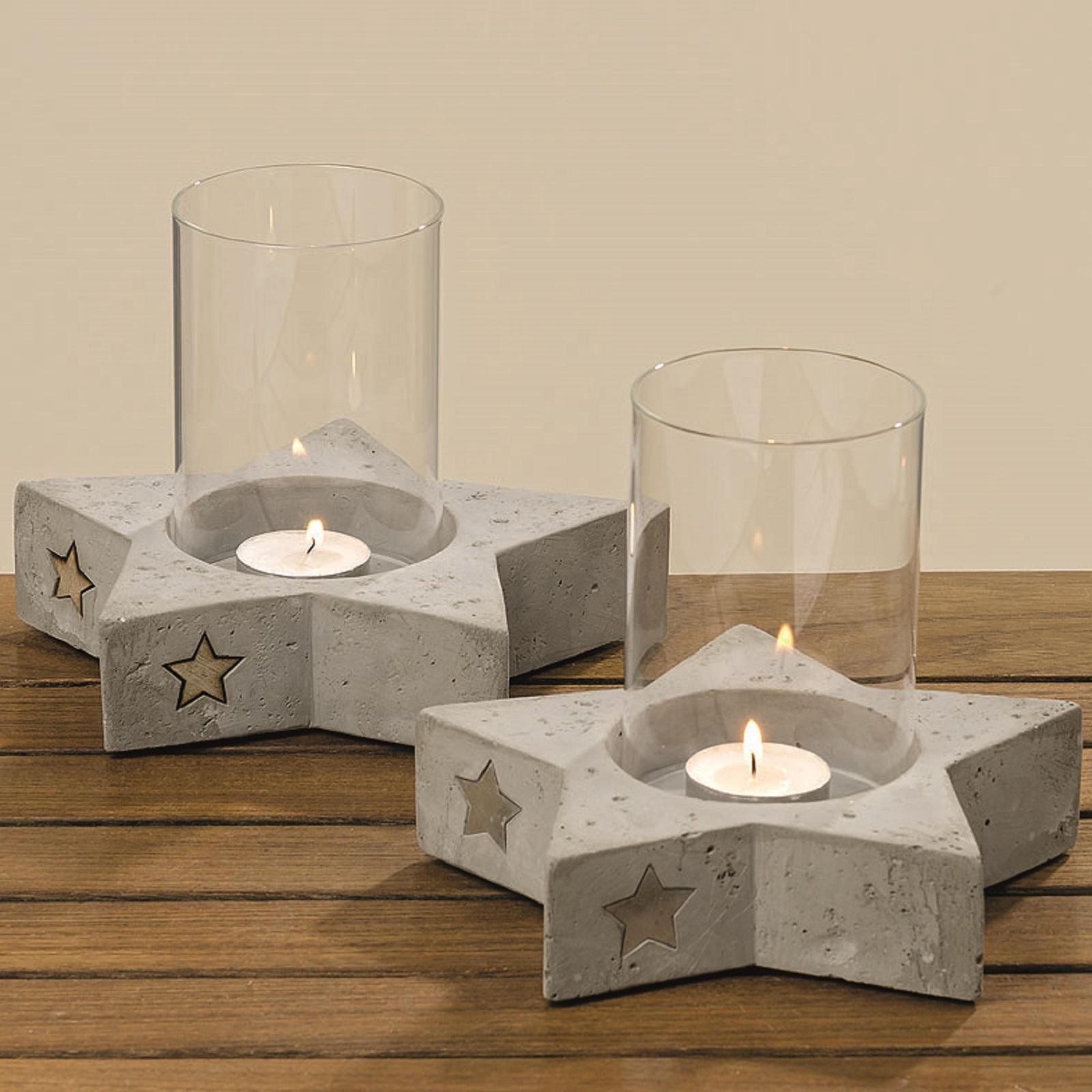 Windlicht  Stern aus Beton und Glassäule Ø 18 cm Stückpreis