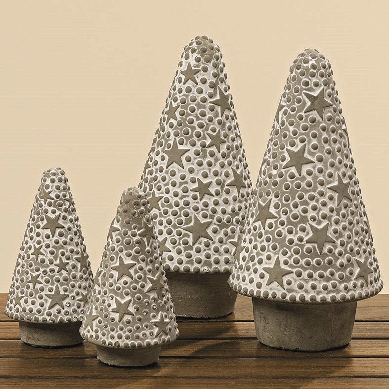 Baum Dekobaum aus Beton mit Sternen  2 Ausführungen H 21 cm Stückpreis