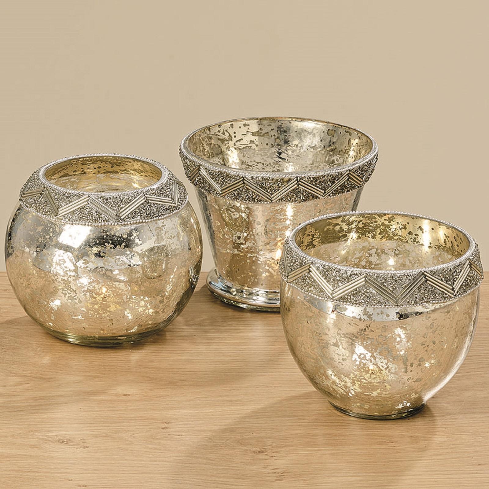 Windlicht Glas lackiert silber 3 Ausführungen Stückpreis Ø ca. 15 cm