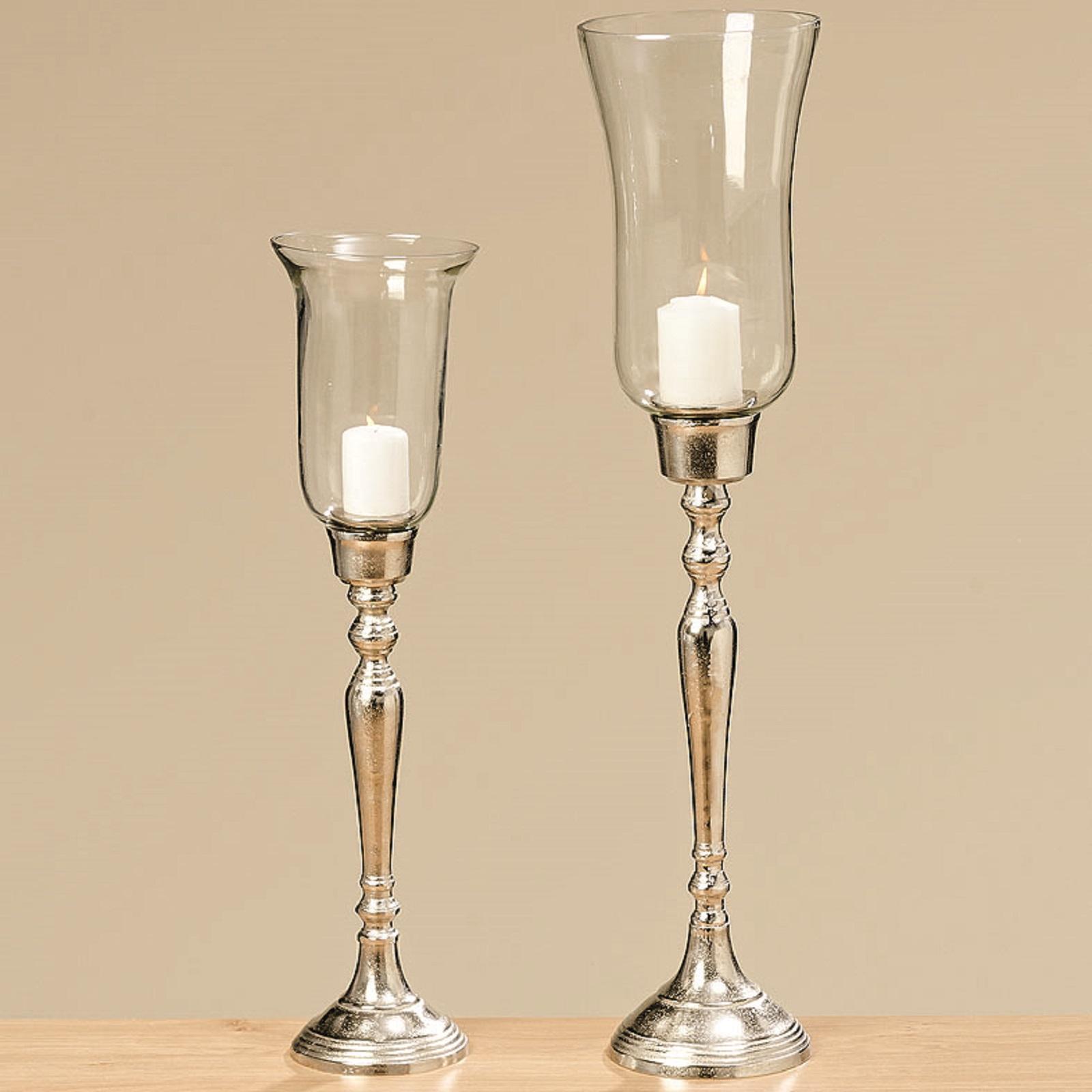 Windlicht Pokal aus Glas und Metall H 61 cm