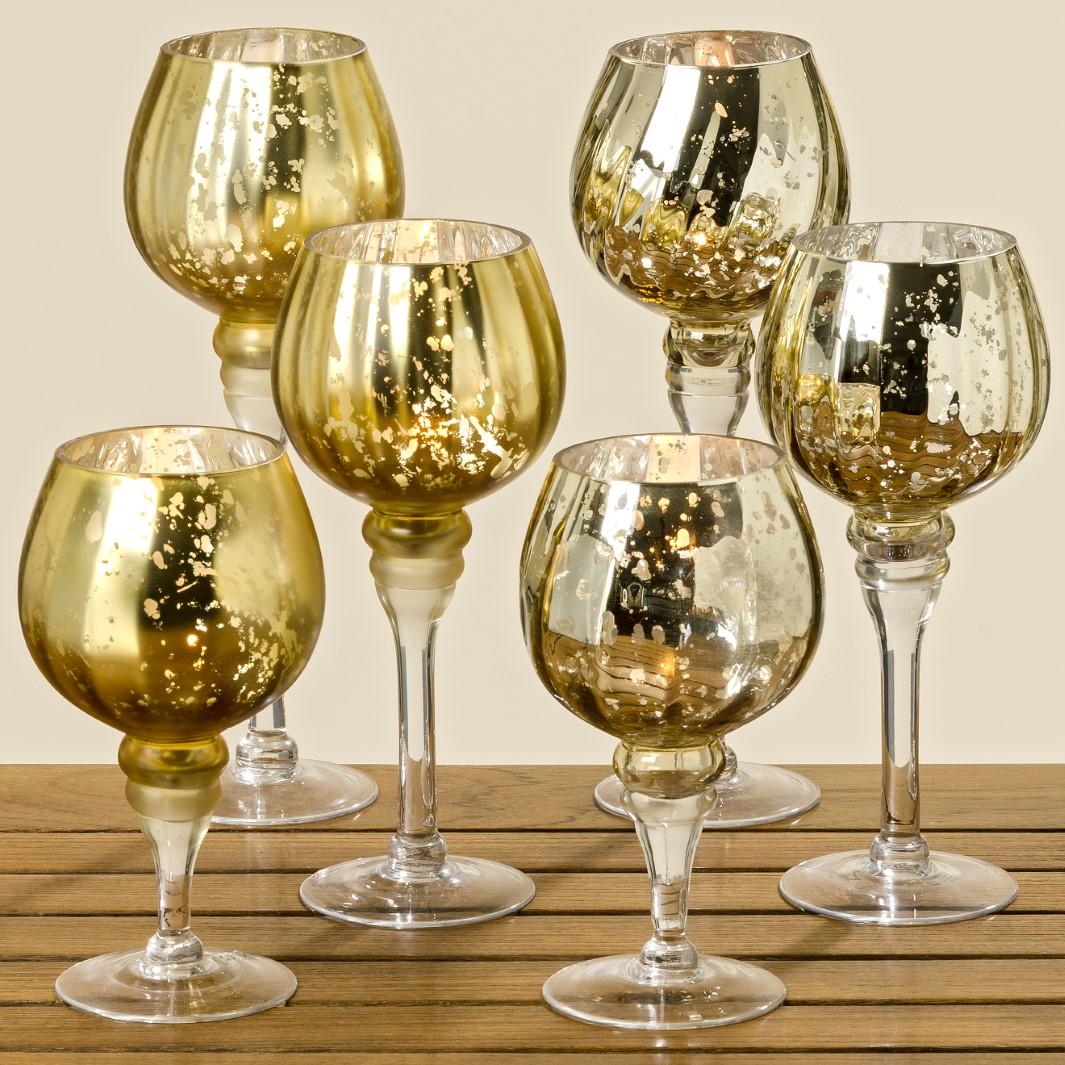 Windlicht Pokal aus Glas gold 3er Set