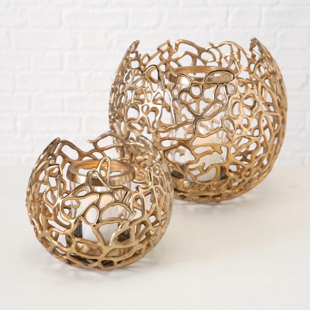 Windlicht Fidan 2er-Set Ø19-28cm Aluminium Gold