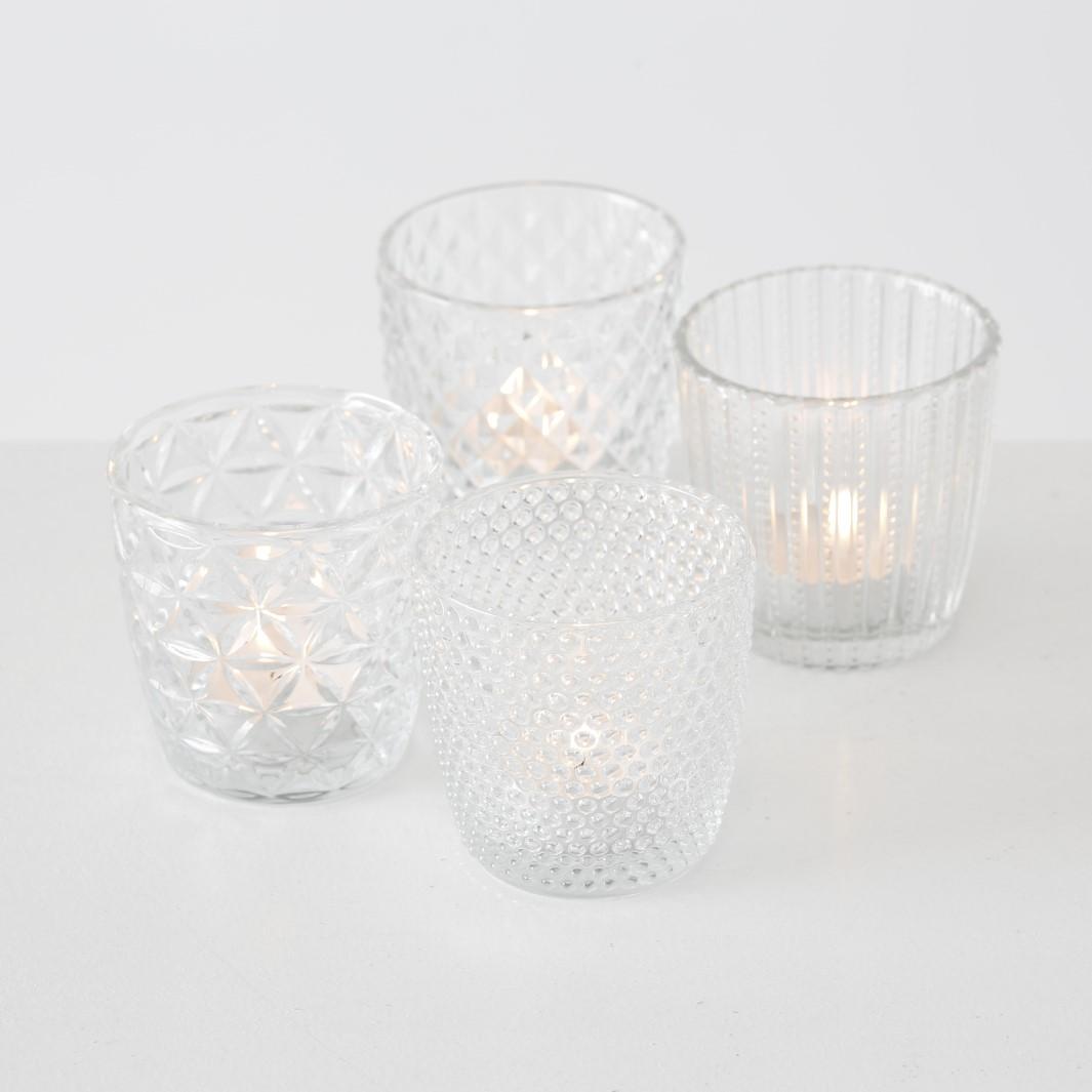 Windlicht Glas klar Teelichthalter 4er Set