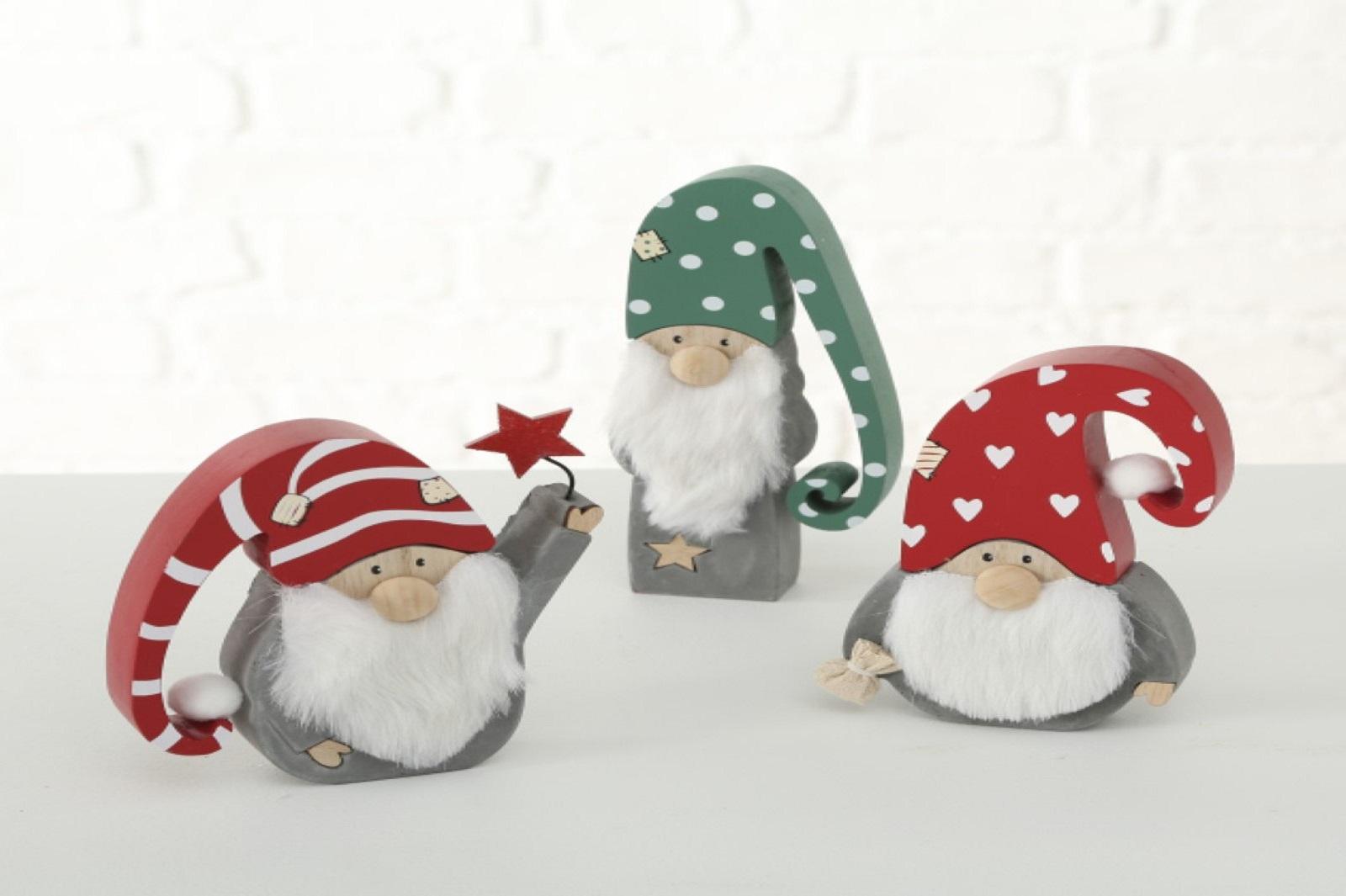 Wichtel Weihnachtsmann Holger Deko Figur Weihnachten H 14 - 19 cm  Stückpreis