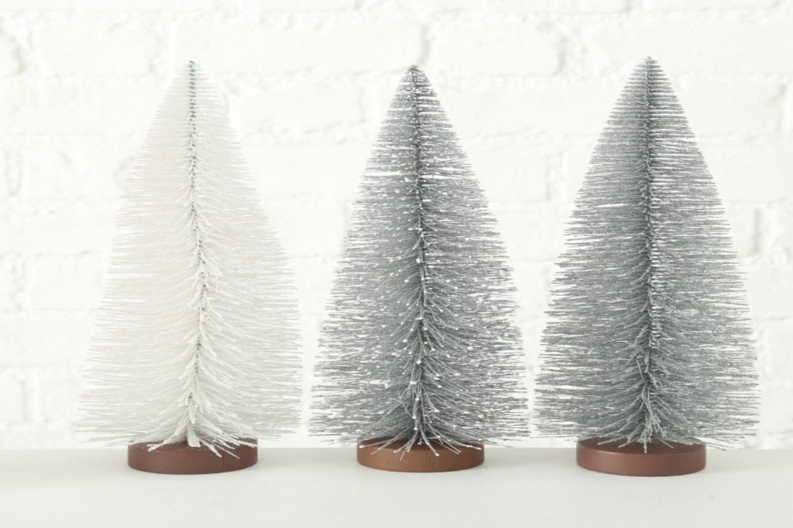 Baum Deko Weihnachten Kunststoff silber H 32 cm 3er Set