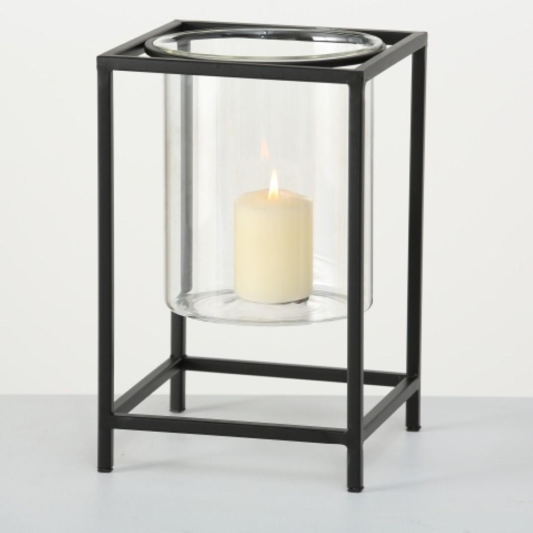 Windlicht KerzenhalterTeelichthalter  Kupol H 31 cm Eisen schwarz