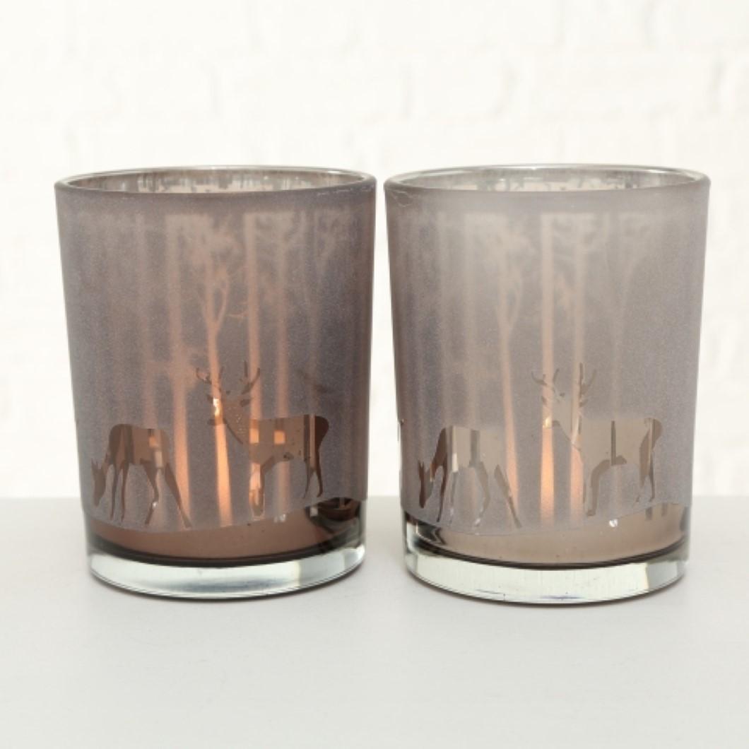 Windlicht KerzenhalterTeelichthalter Hirsch und Reh Motiv H 12 cm Stückpreis