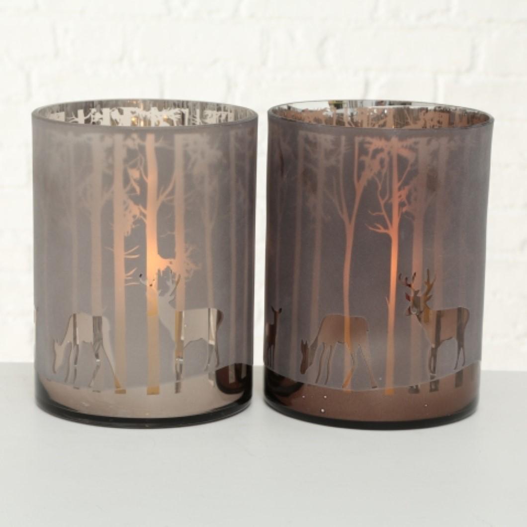Windlicht KerzenhalterTeelichthalter Hirsch und Reh Motiv H 24 cm Stückpreis
