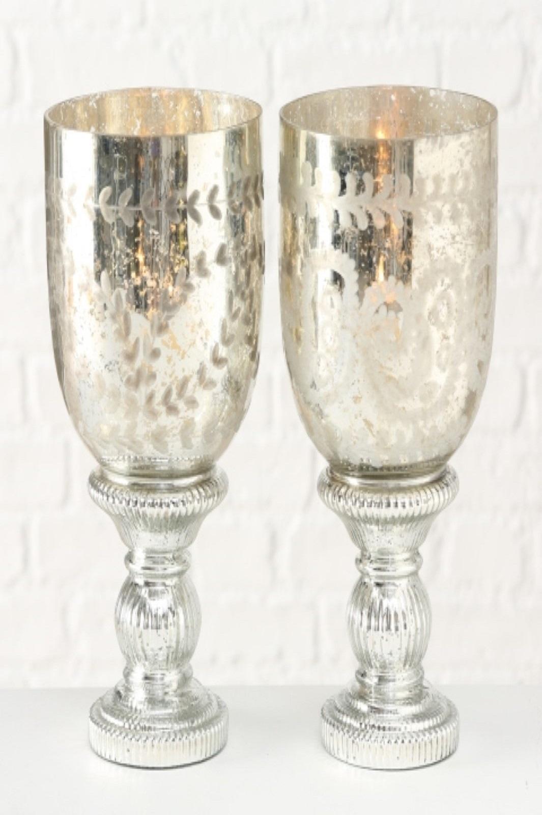 Windlicht Marya 2 Ausführungen Glas Silber H33cm Stückpreis