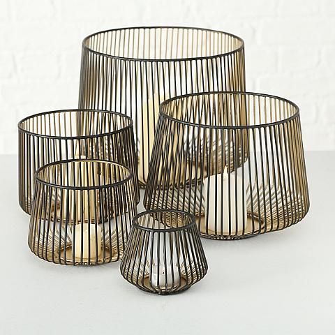 Windlicht Kerzenhalter Eisen schwarz gold  Größe  L   Höhe18 cm