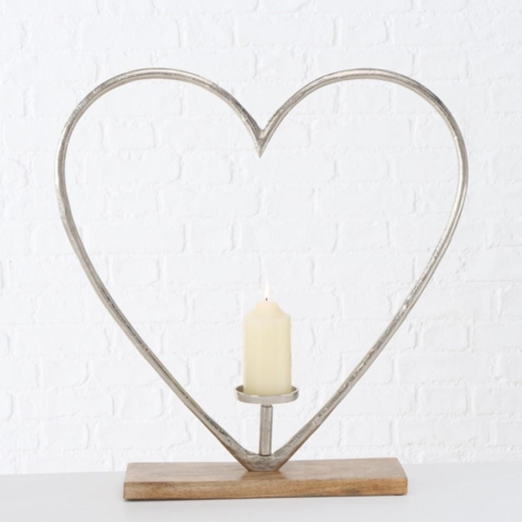 Herz Kerzenhalter Kerzenständer aus Mangoholz Aluminium Hochzeit H 60 cm