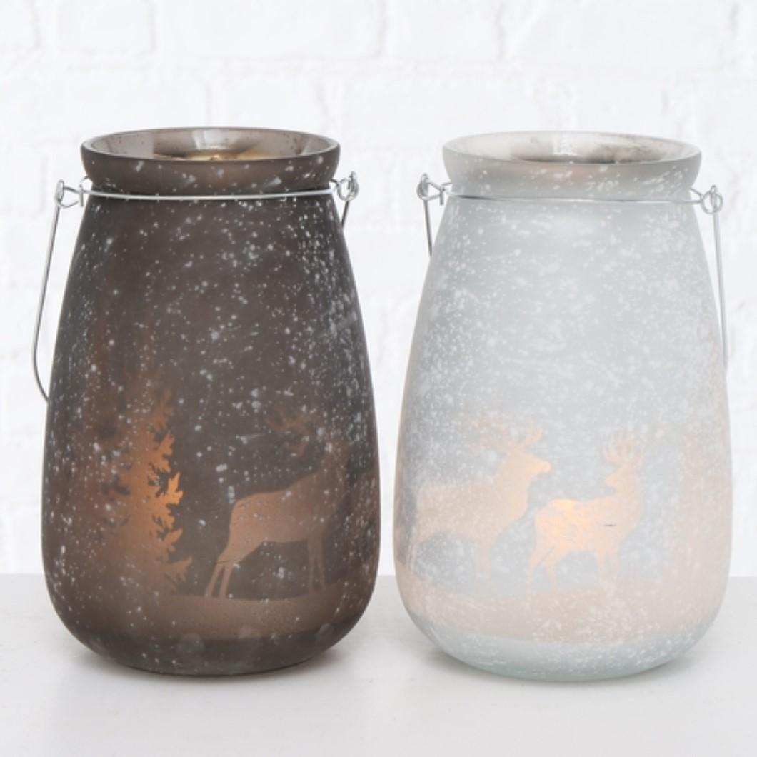 Windlicht Kerzenhalter Teelichthalter Motiv Hirsch grau oder weiß Stückpreis