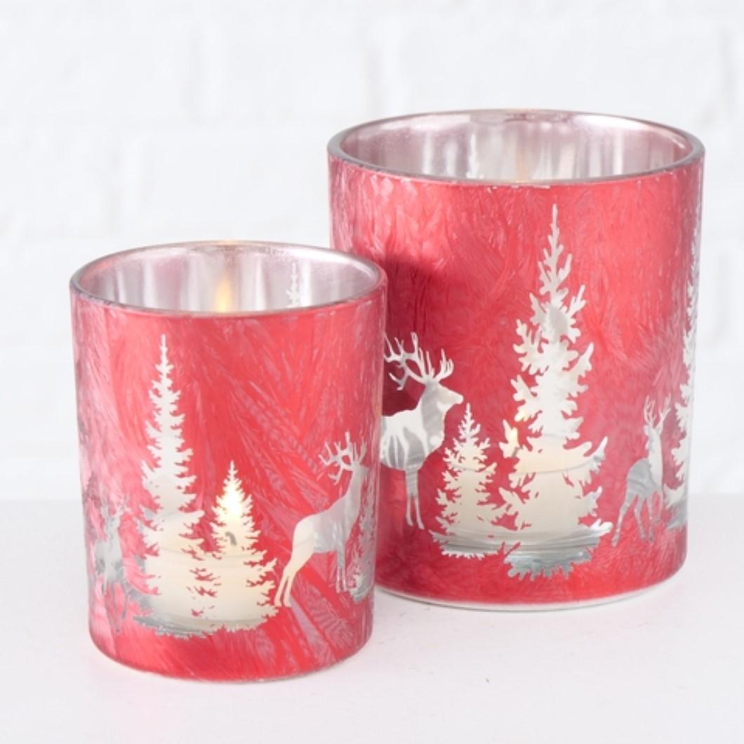 Windlicht Kerzenhalter Teelichthalter Motiv Wald Hirsch rot 2er Set