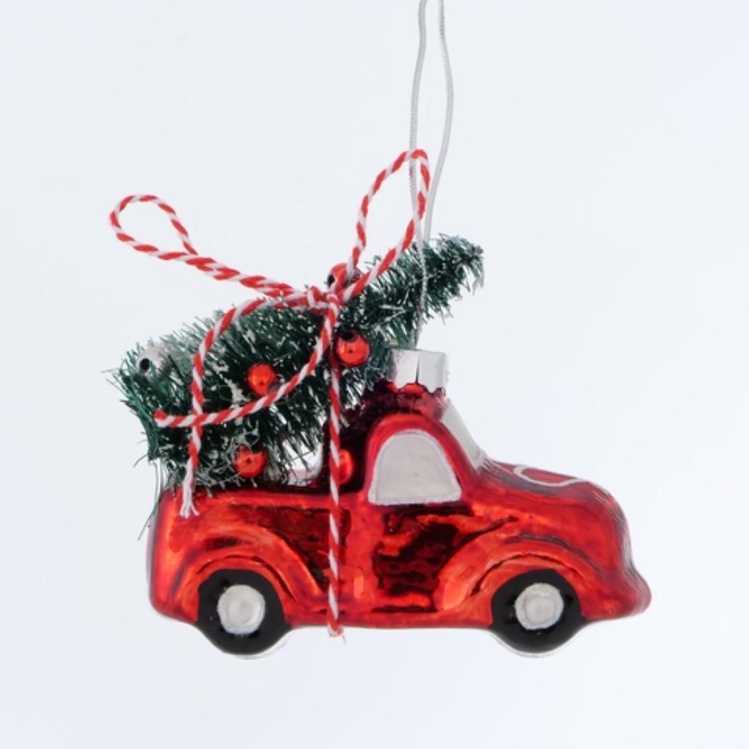 Auto Dekohänger Glaskugel Weihnachtskugel Baumschmuck Weihnachten rot L 8 cm