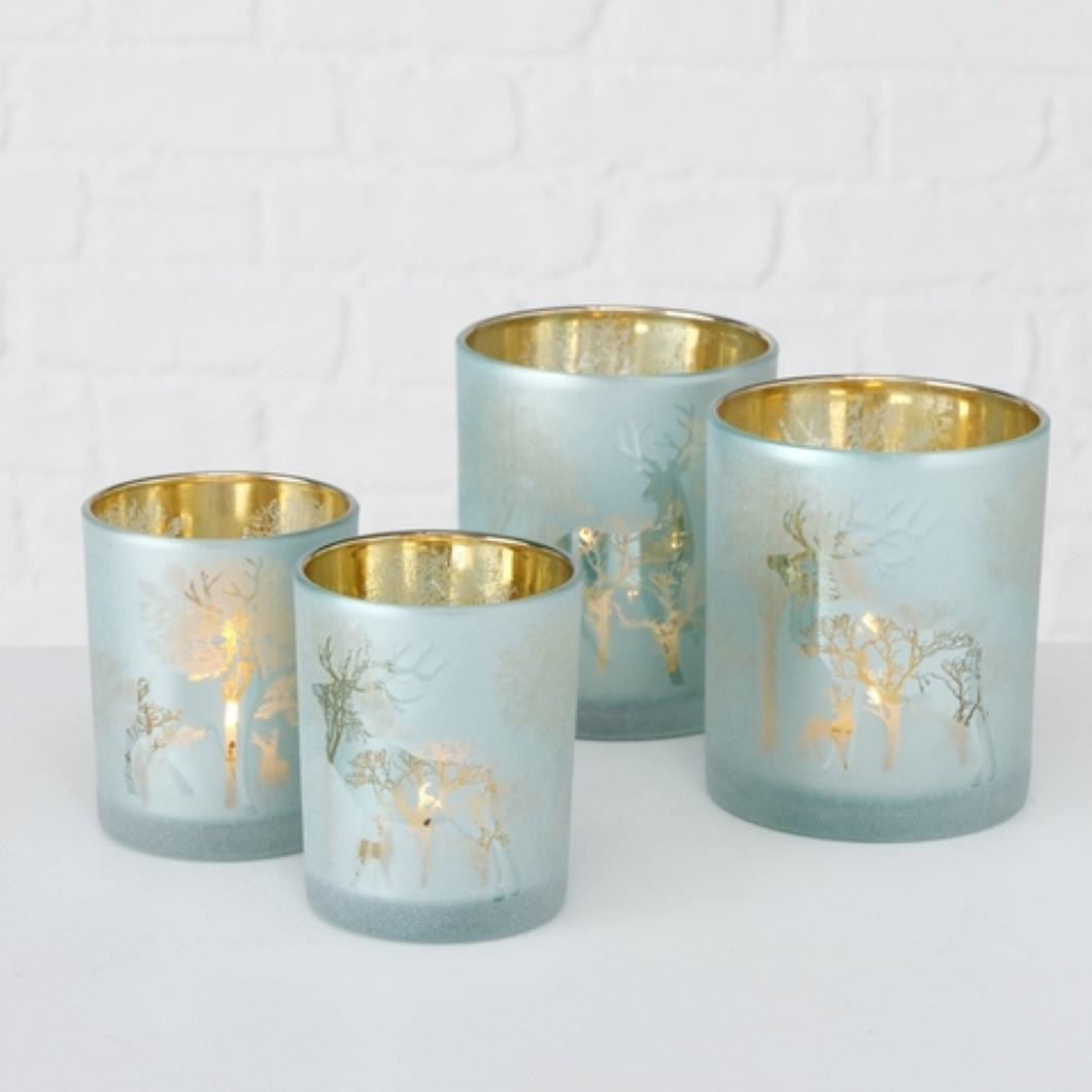 Windlicht Kerzenhalter Teelichthalter Wald Hirsch Motiv grün gold 2er Set