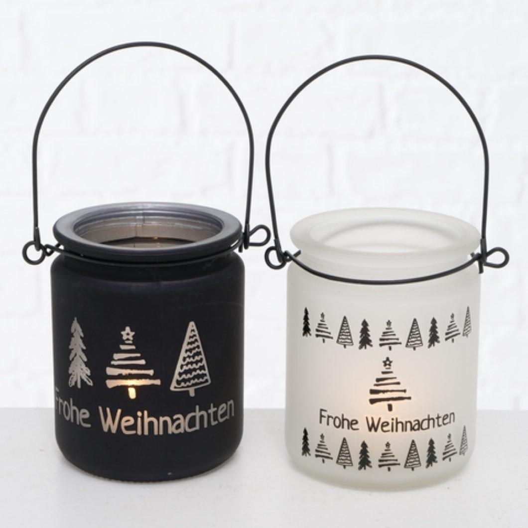 Windlicht Kerzenhalter Teelichthalter Frohe Weihnachten schwarz weiß 2er Set
