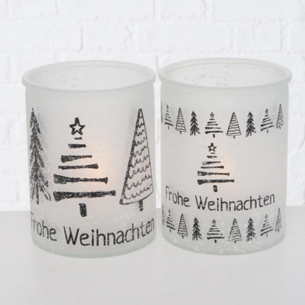 Windlicht KerzenhalterTeelichthalter Frohe Weihnachten schwarz weiß Stückpreis