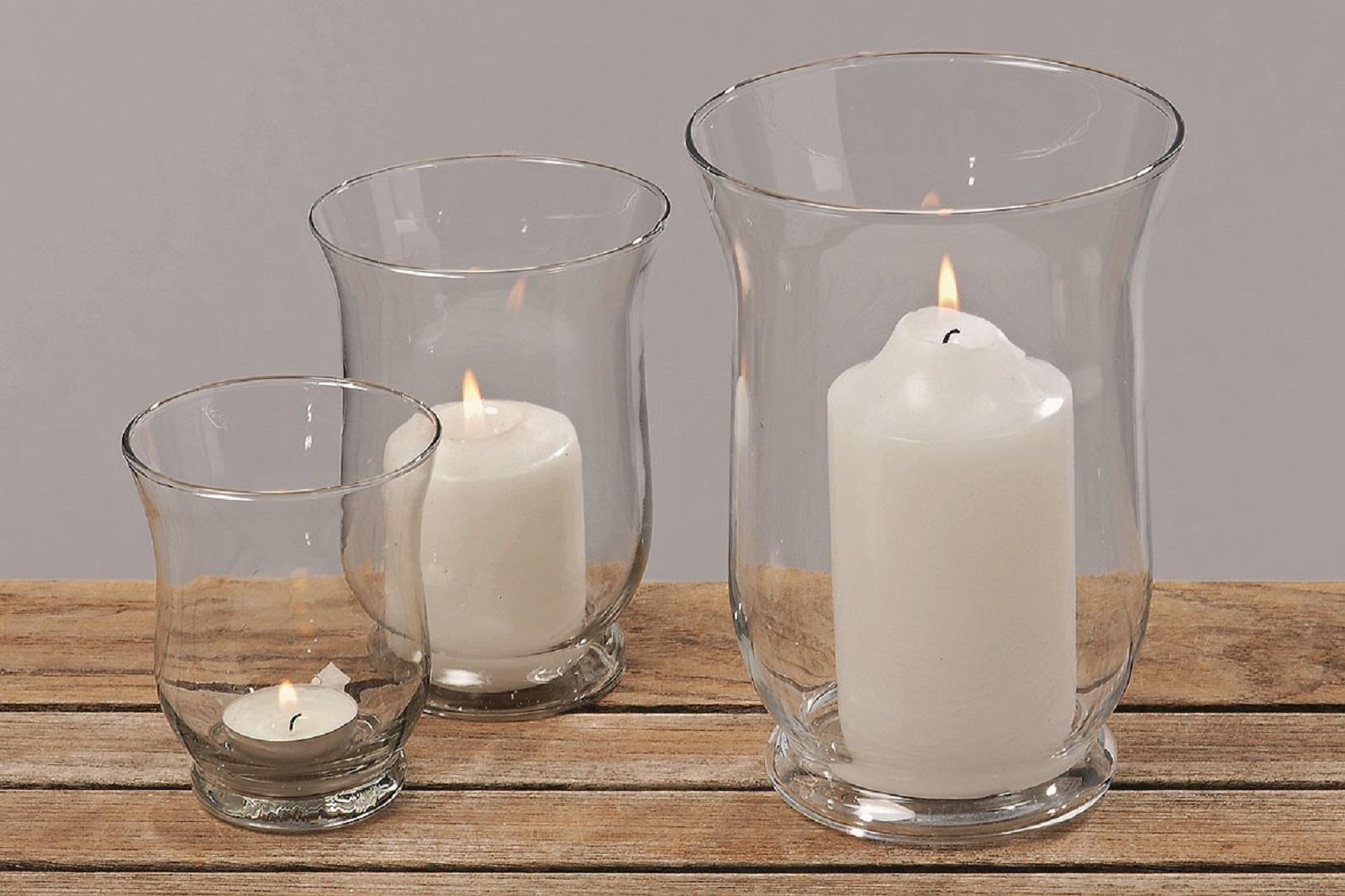 Windlicht, 3 teilig, Glas,Vase, 3er Set, Teelicht, Neu