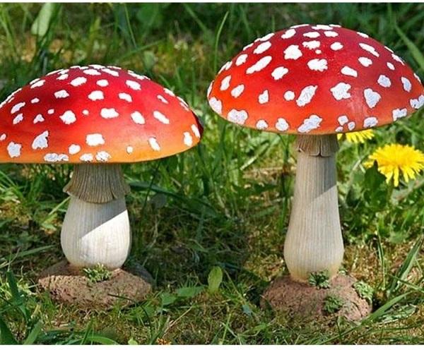 Fliegenpilz Deko Pilz Gartendeko Garten Kunstharz Rot weiß Stückpreis