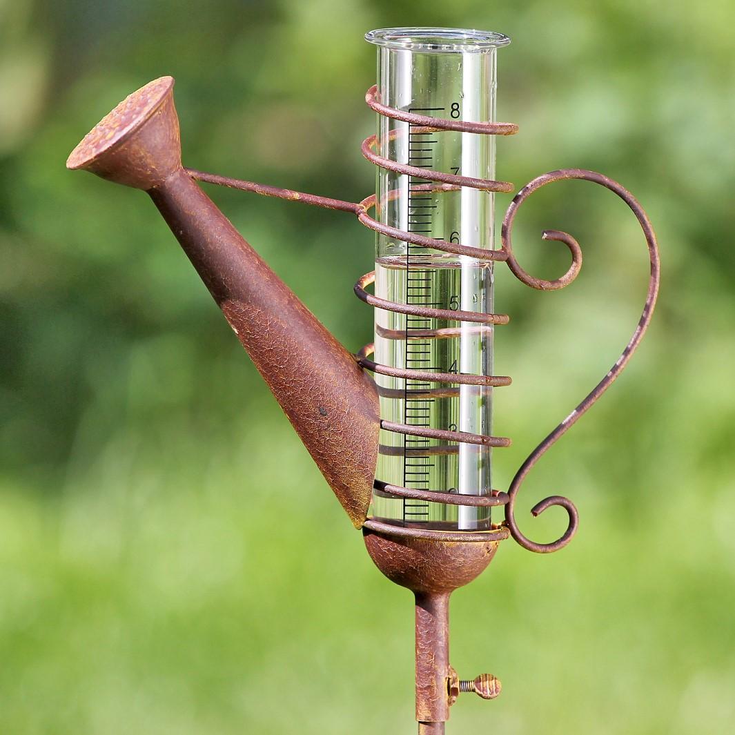 Gartenstab Regenmesser Kanne Eisen rost