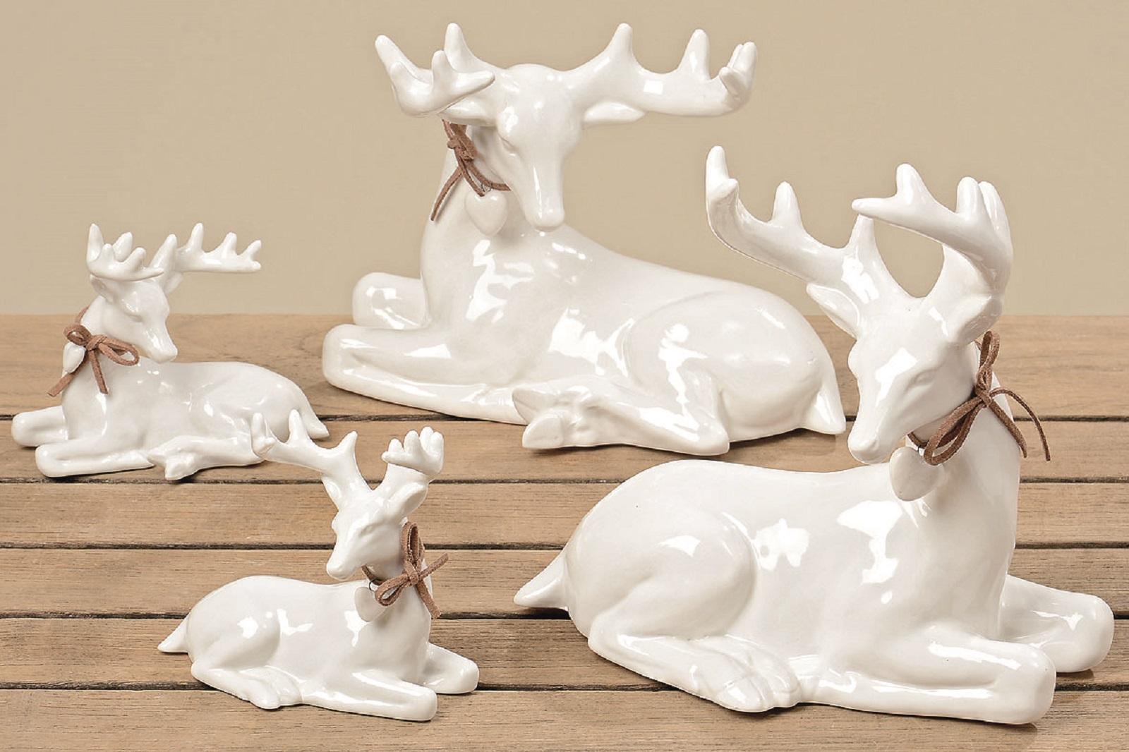 2er Set Hirsch, Deko Figur liegend, Porzellan weiß, 11 cm