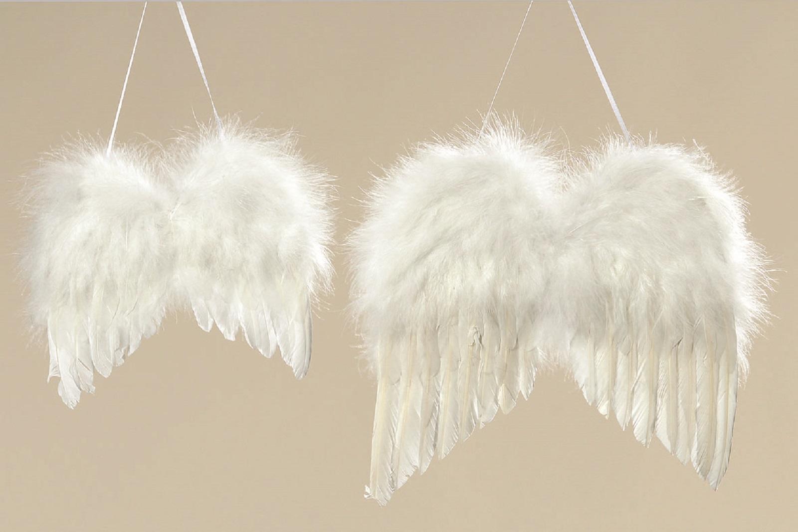 Hänger Flügel Deko Engelsflügel Weihnachten Federn weiß 2er Set