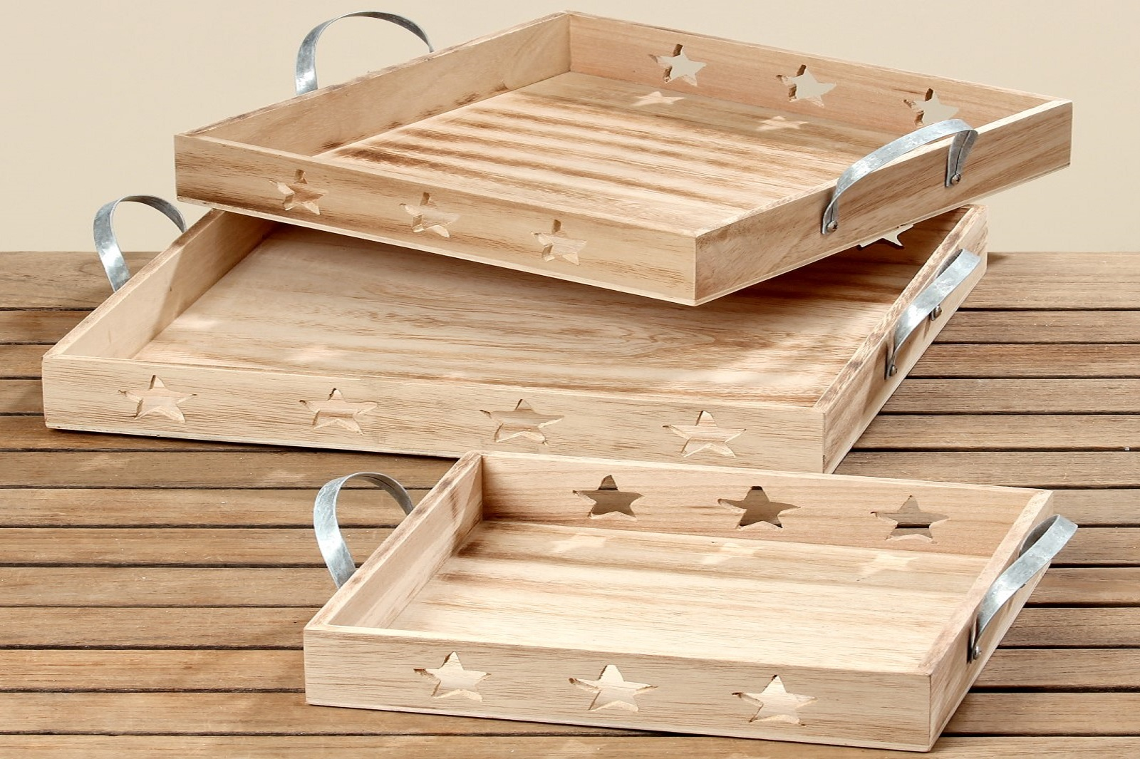 Dekotablett mit Sterne Tablett Holz natur