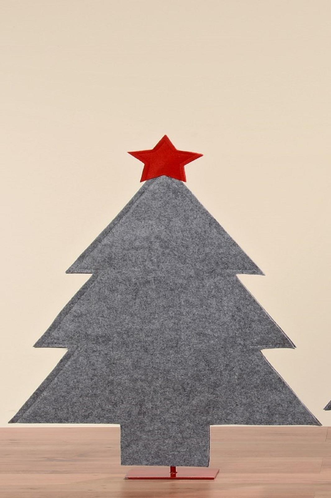 Baum Filzbaum Dekobaum Filz grau mit rotem Stern  H 93 cm