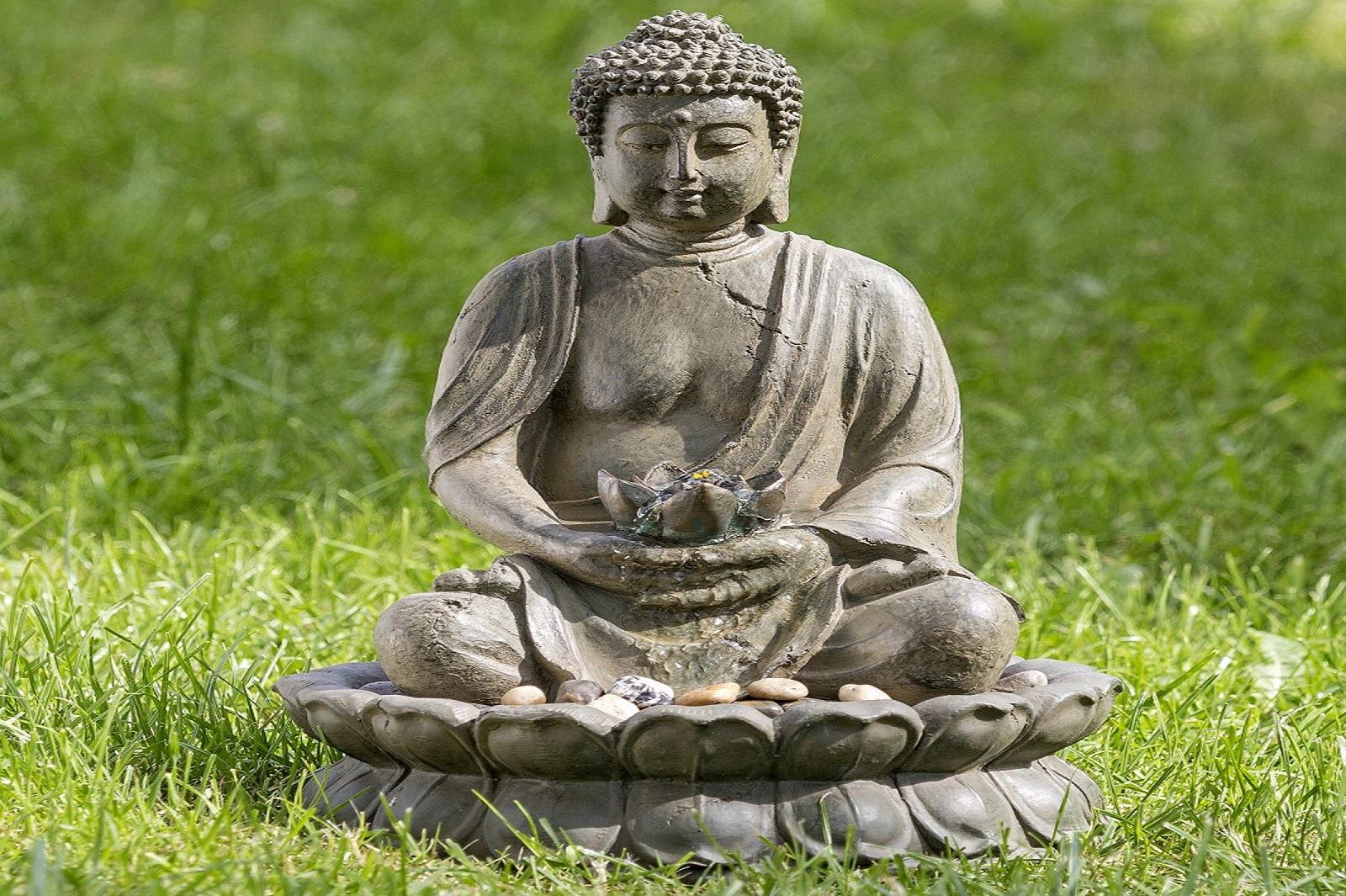 Brunnen Buddha Zimmerbrunnen Feng Shui LED Statue H 50 cm