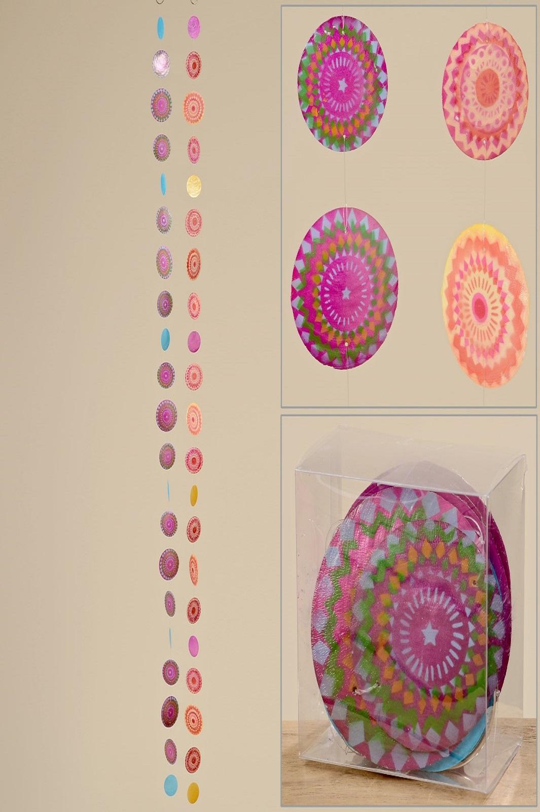 Muschelgirlande Capiz Girlande Sterne Blüten orange grün pink 1,80 m 2er Set