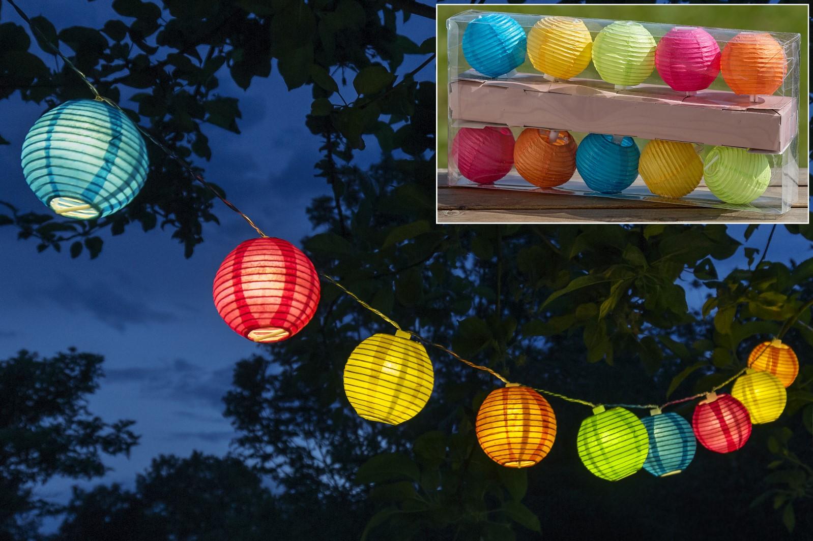 10 er Lichterkette bunt Lampion Gartenlicht Terasse L 185 cm