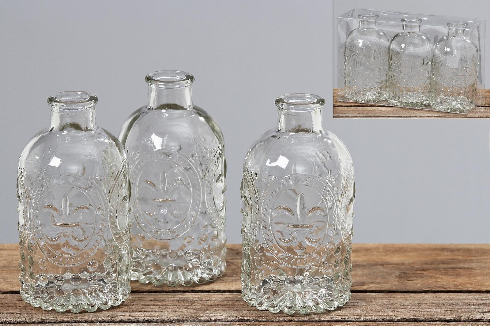 Vase Country 3tlg H 13 cm Glas Glasvase Flaschen Tischvase