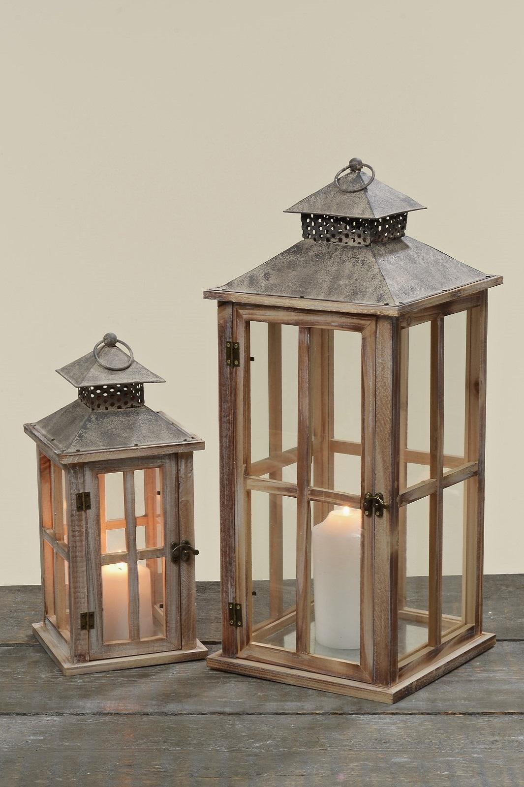 Laterne Tanne Holz Windlicht Teelicht Teelichthalter H 33 + 50 cm 2er Set