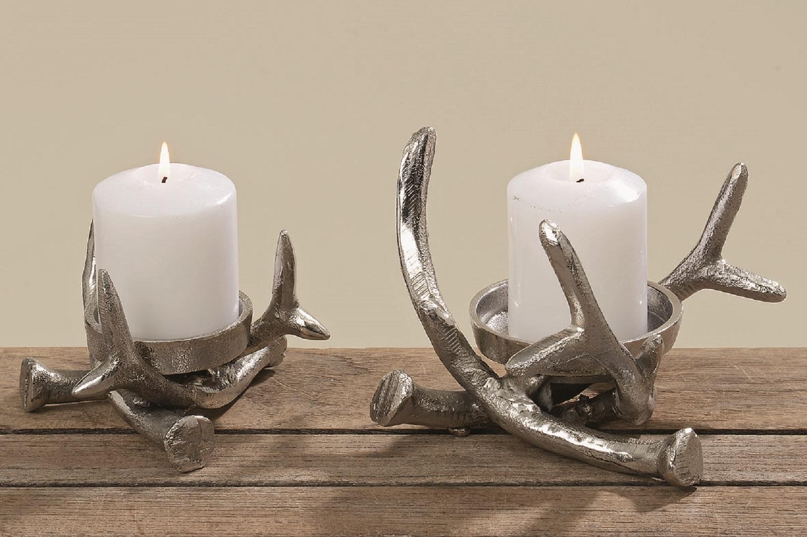 Kerzenständer Kerzenleuchter Metall Hirschgeweih Metall Tischdeko 2er Set