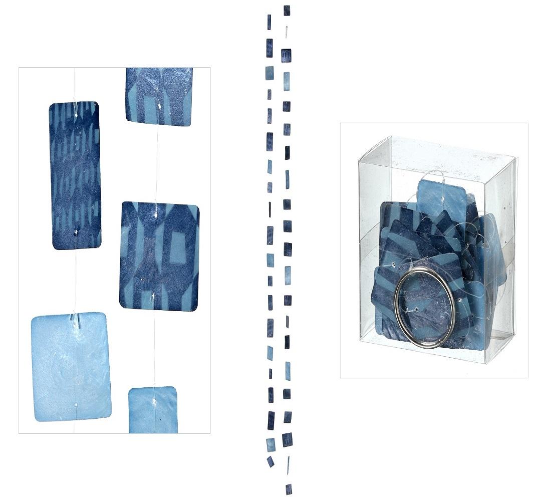 Capiz moderne Muschel Girlande Windspiel Muschelgirlande 2 er Set blau viereckig