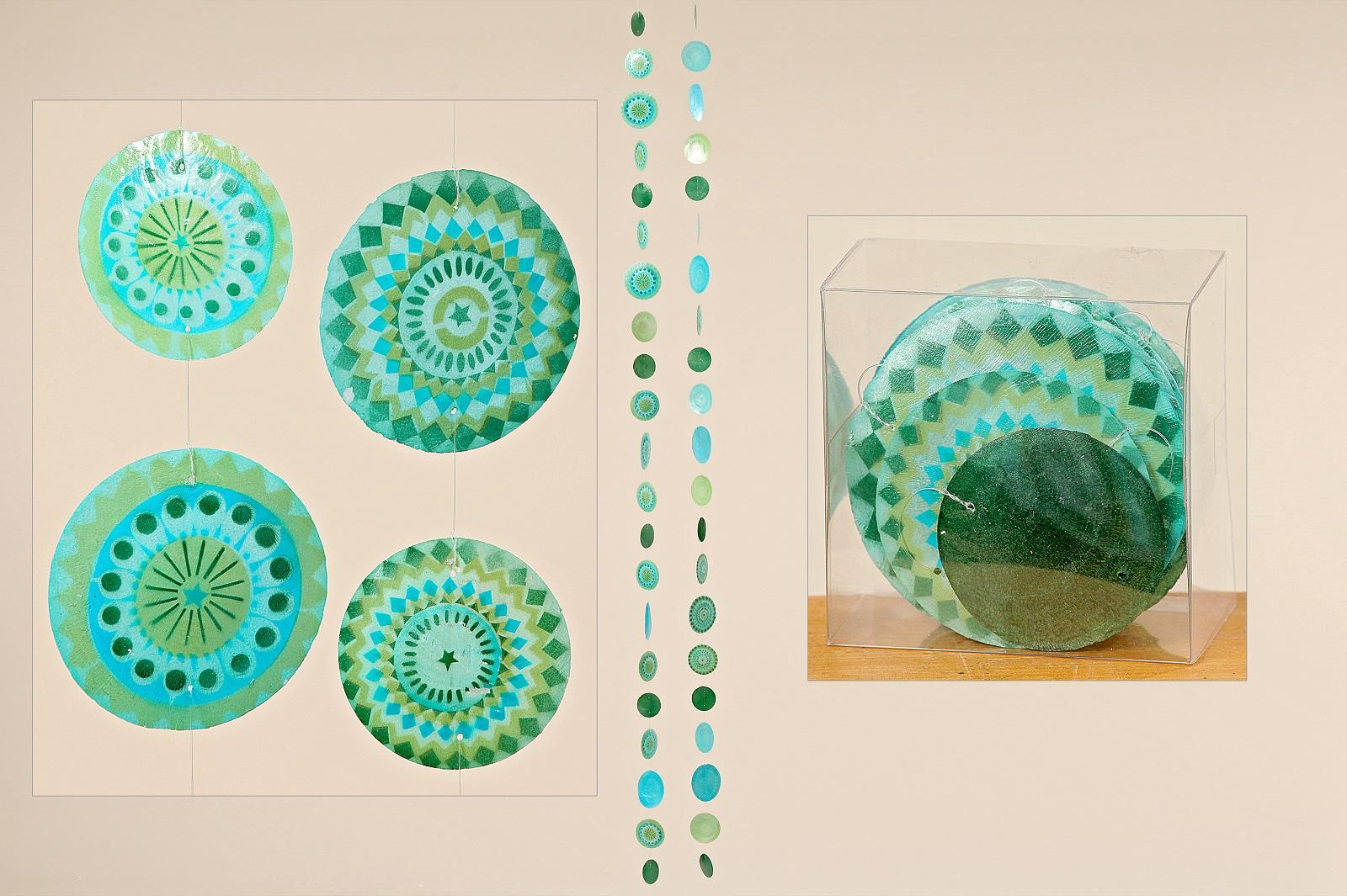 Capiz Muschel Girlande Mobile Windspiel Muschelgirlande grün blau Stückpreis
