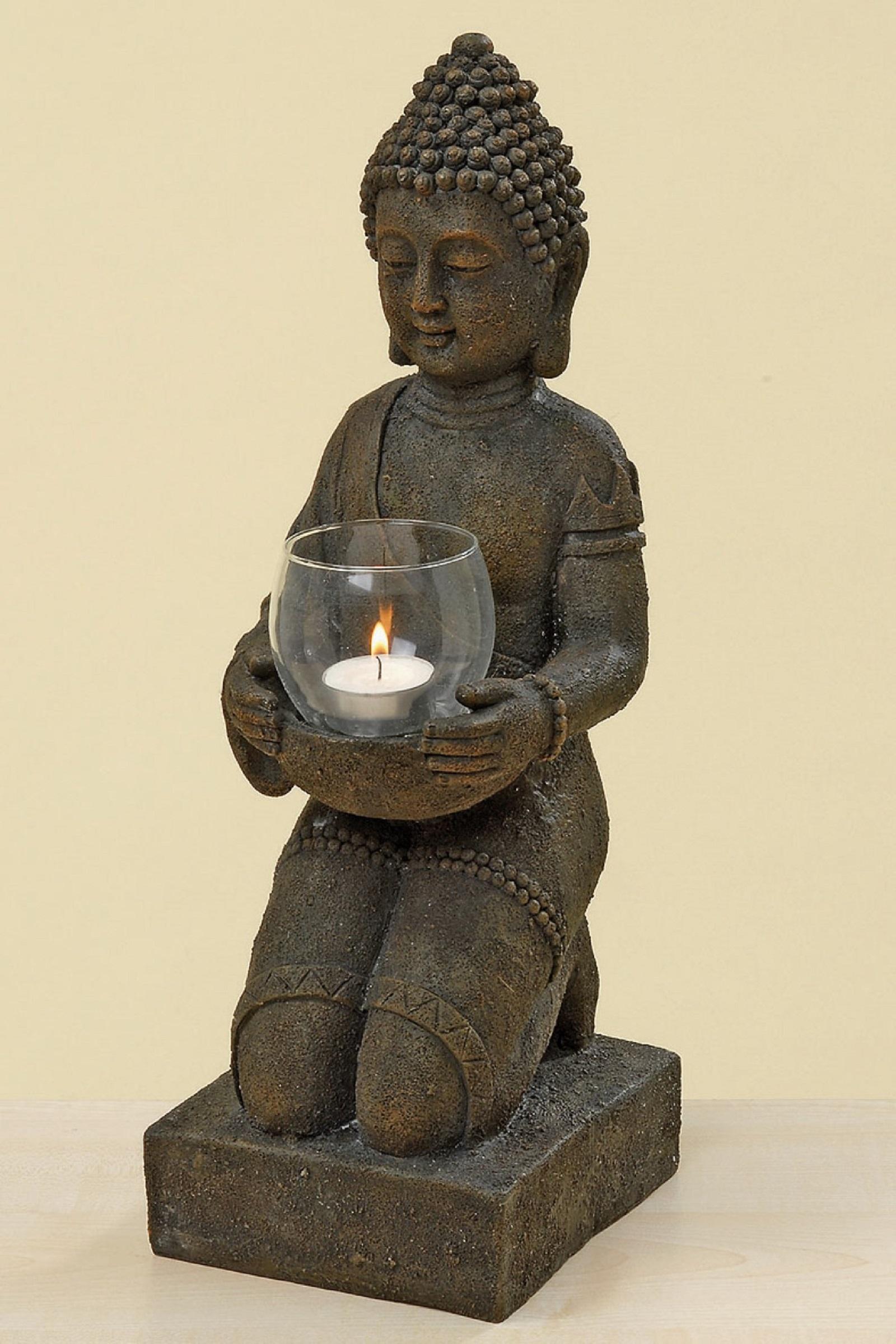 Buddha Statue Windlichthalter Kerzenständer Dekofigur H 44 cm 5989500