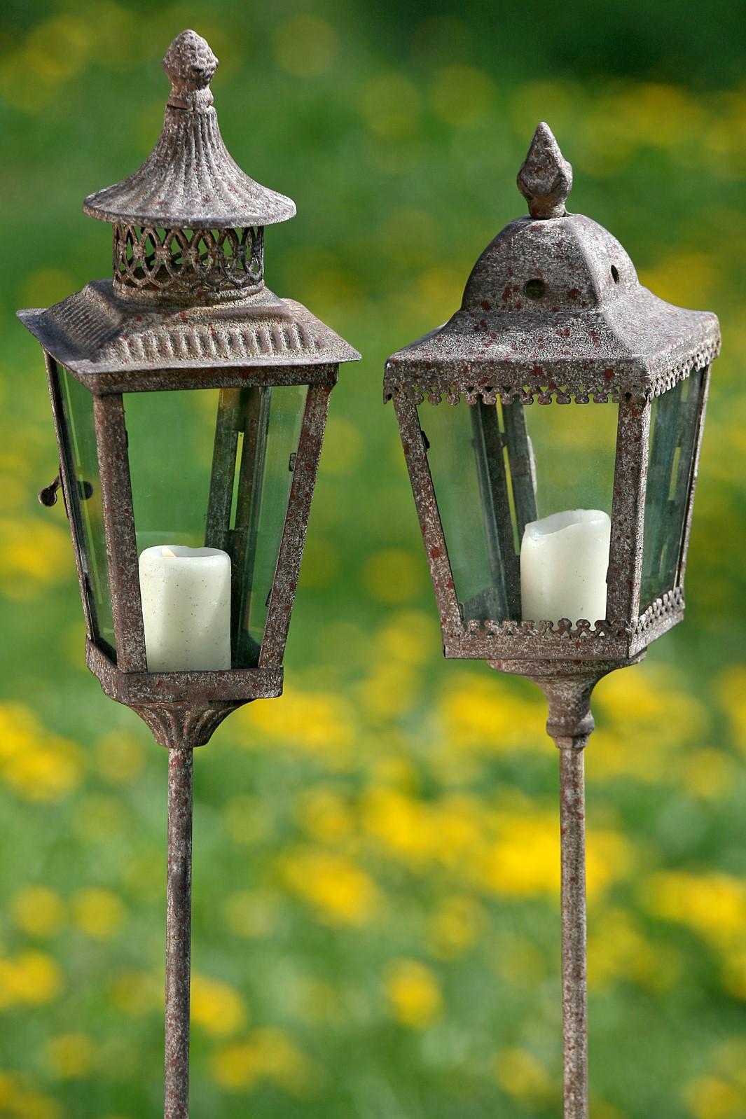 Laterne Gartenstab Windlicht Metall Glas   spitzes Ende Stückpreis