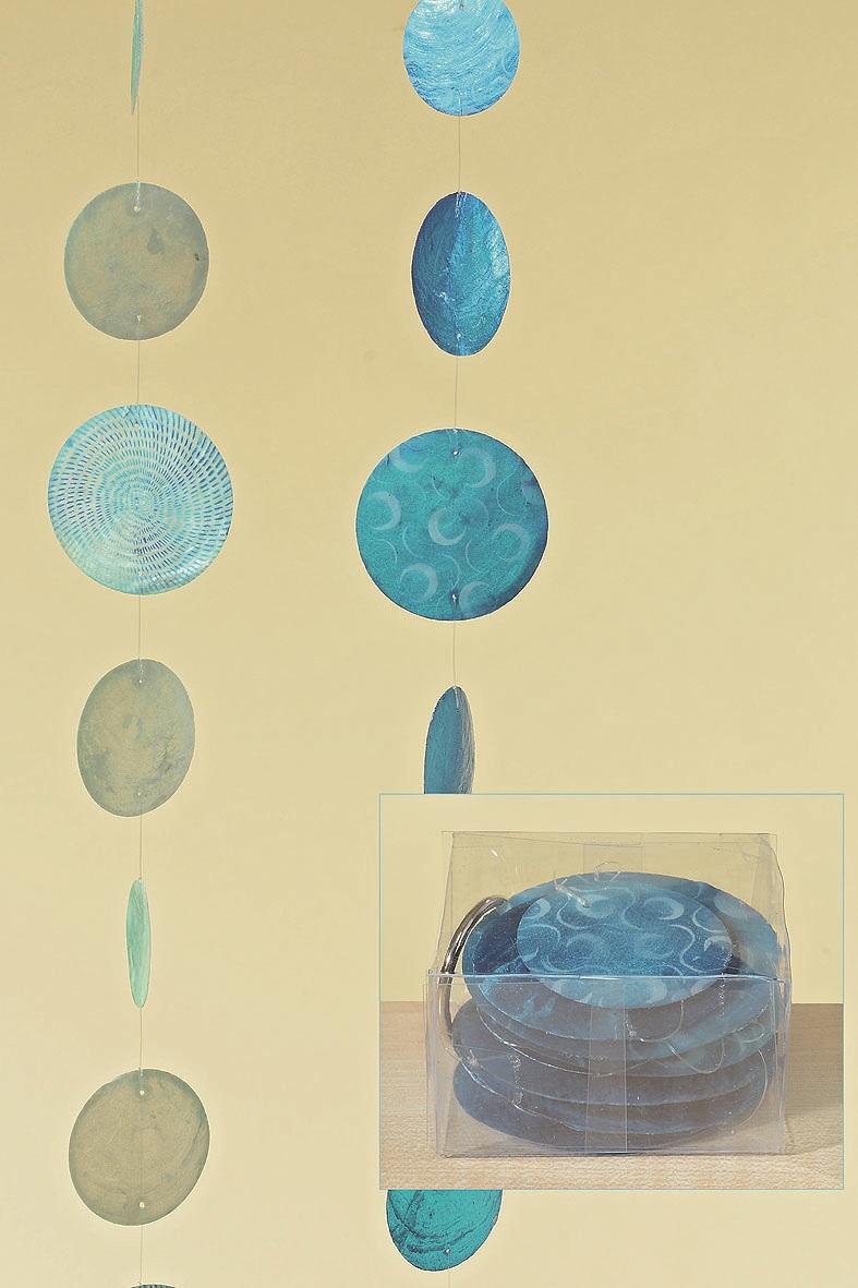 Capiz,Muschel,Girlande,Windspiel,perlmutt,blau,NEU