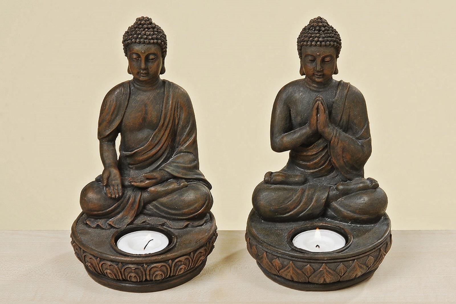 Teelichthalter Buddha H 19 cm 2er Set
