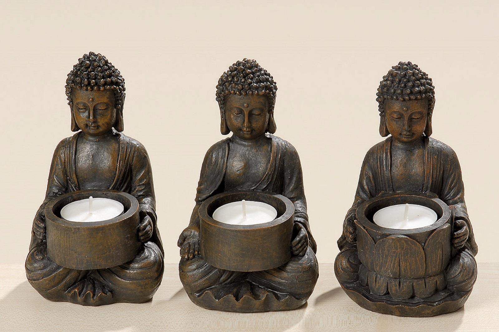 Buddha Teelichthalter Teelicht Kerzenhalter 3er Set