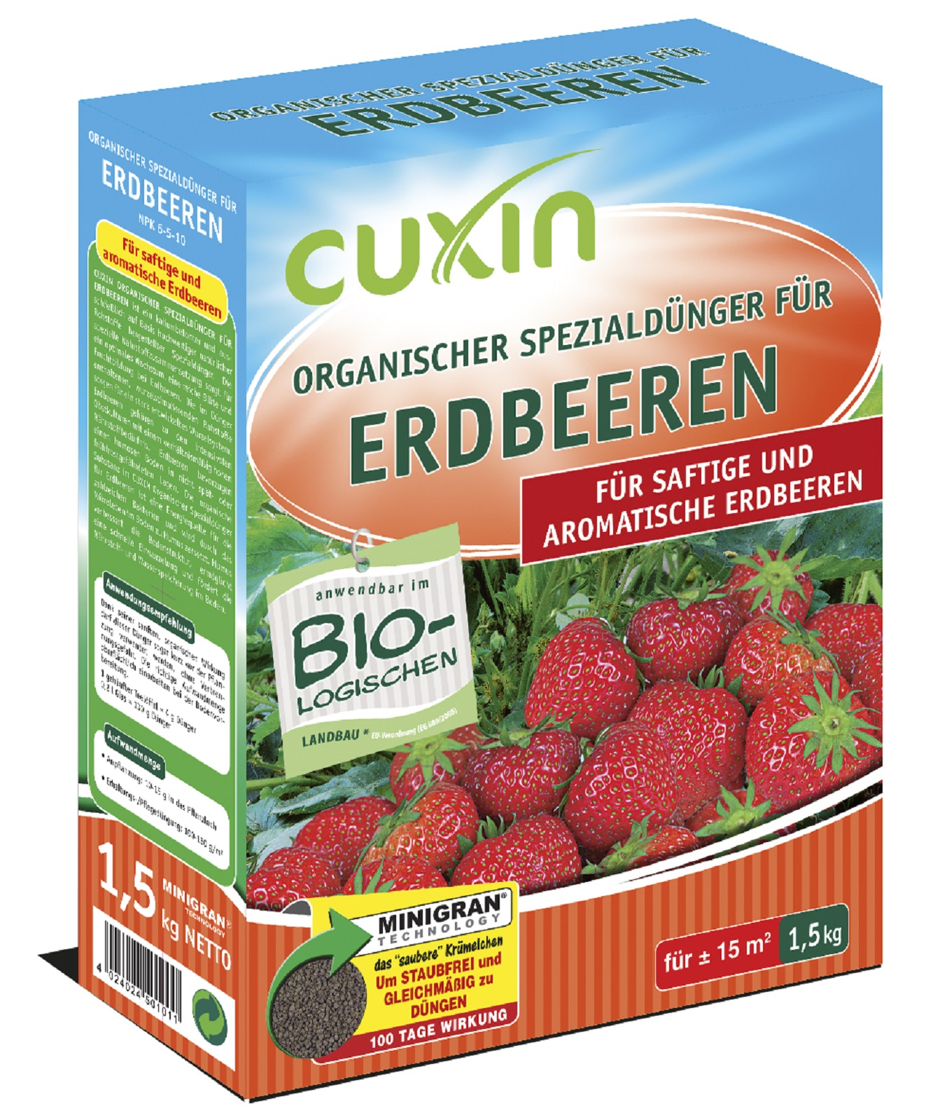 Cuxin f. Erdbeeren,1,5 kg, Dünger,organischer NPK Dünger