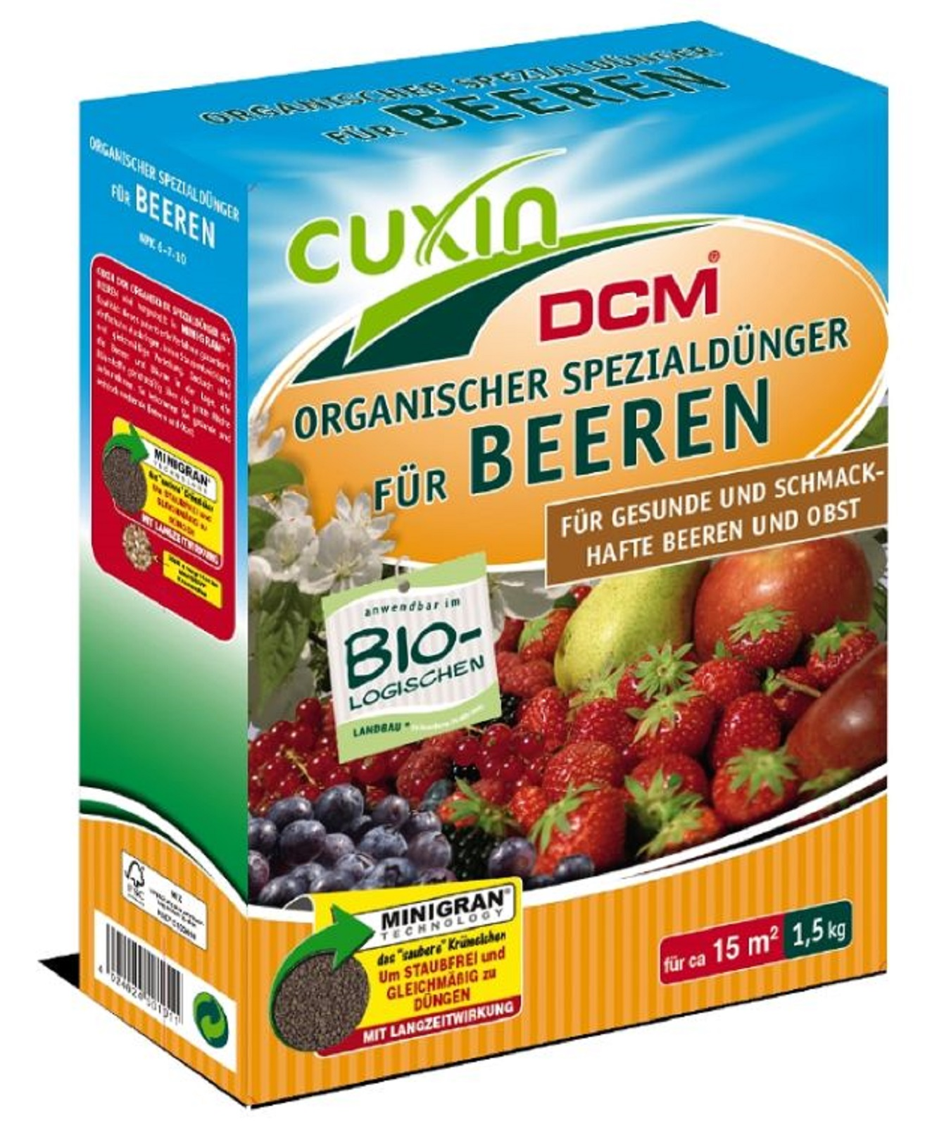 Cuxin  Dünger für Beerensträucher Obstbäume Beeren 1,5 kg organischer Dünger
