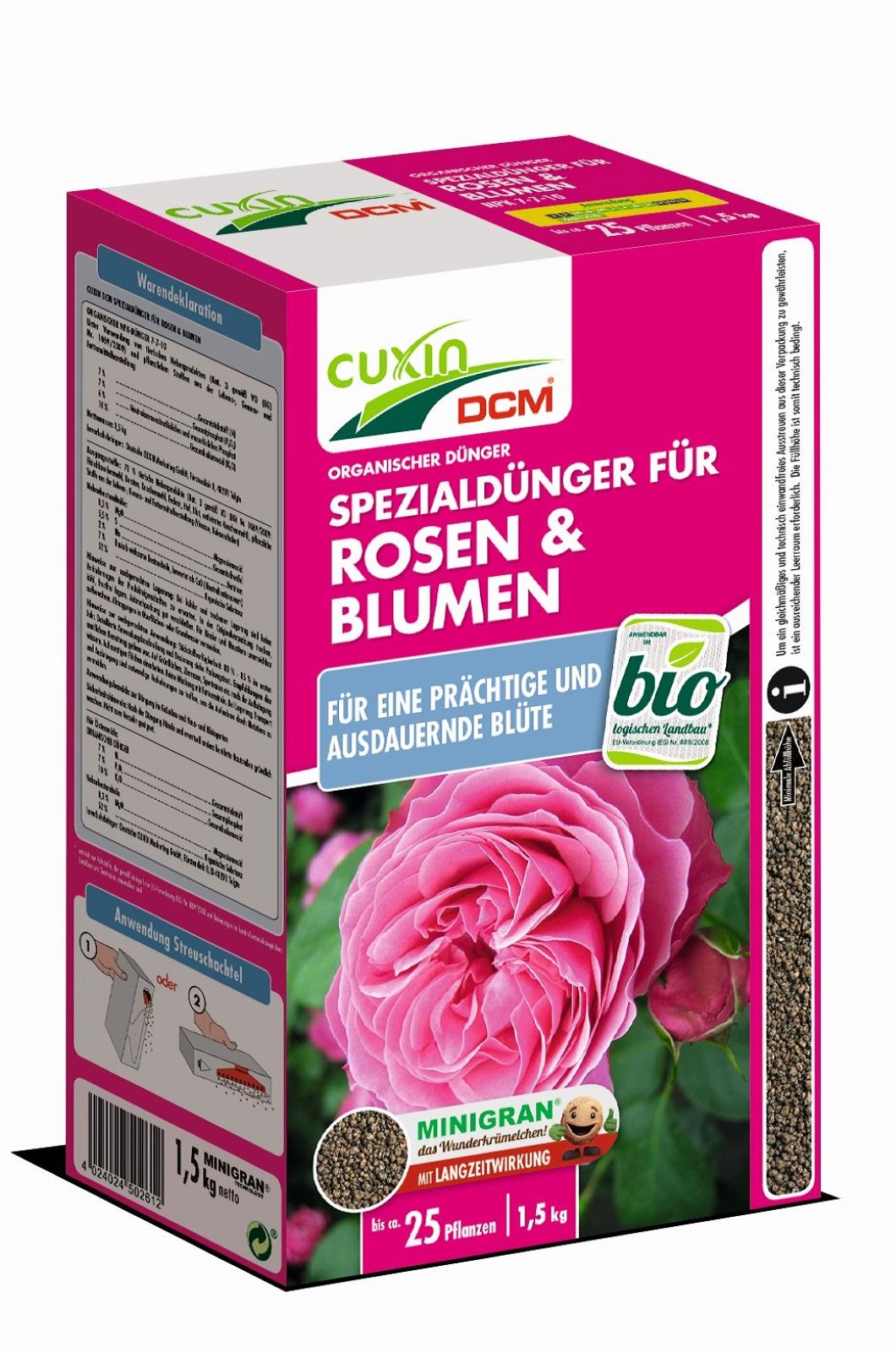Cuxin Spezialdünger Rosen und Blumendünger 1,5 kg Minigran Dünger
