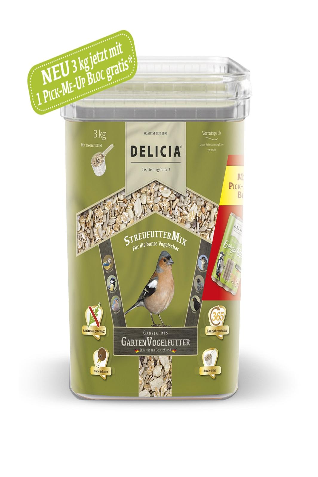 Delicia 3 kg Vogelfutter Streufuttermix Gartenvögel  Ganzjahresfutter