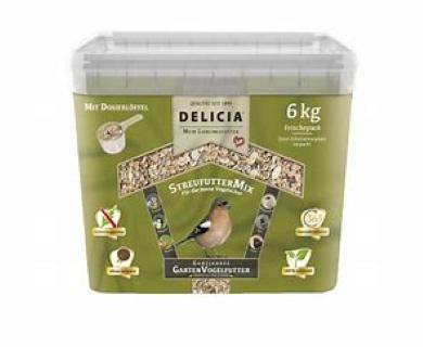 Delicia Streufuttermix Gartenvögel Vogelfutter  Ganzjahresfutter 6 kg