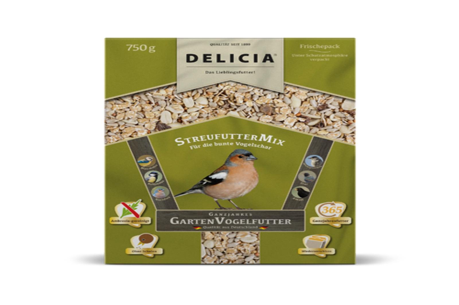 Delicia 750 g Vogelfutter Streufuttermix Gartenvögel  Ganzjahresfutter