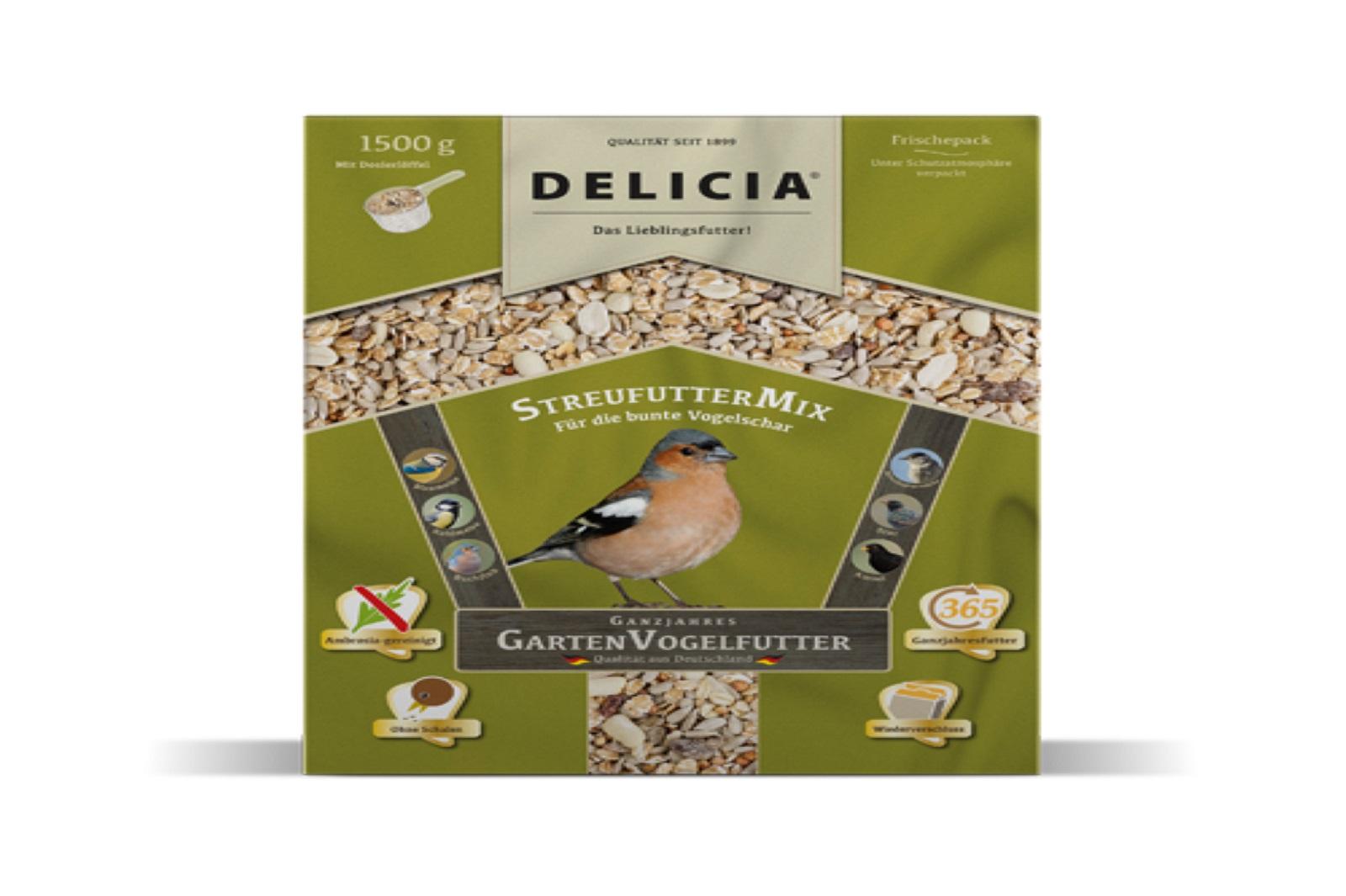Delicia 1,5 kg Vogelfutter Streufuttermix Gartenvögel  Ganzjahresfutter