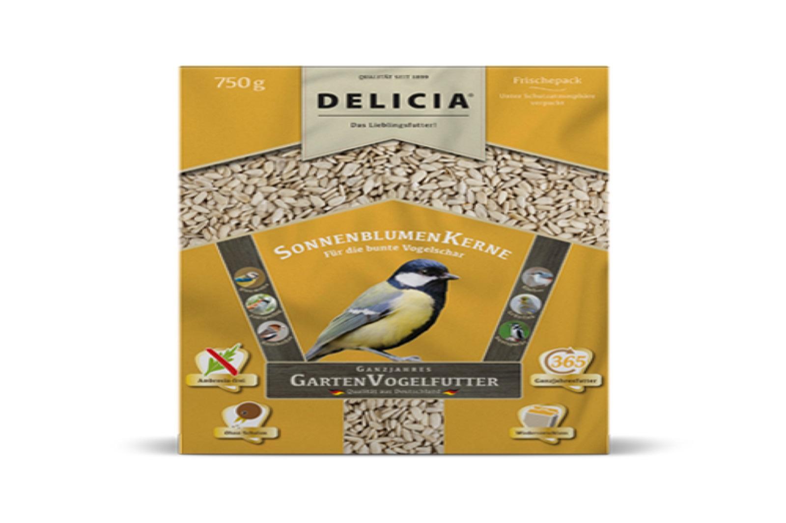 Delicia 750 g Vogelfutter Sonnenblumenkerne Gartenvögel  Ganzjahresfutter